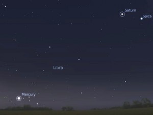 Mercury and Saturn, looking SSE at 6.45am on December 19th