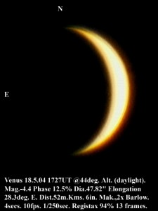 Venus on 18 May 2004 (by Bryan Lilley)